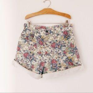 """Vintage 90's floral denim high waisted shorts 30"""""""